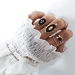 Black Metal Knuckle Ring Nordic Chain 6-piece Ring