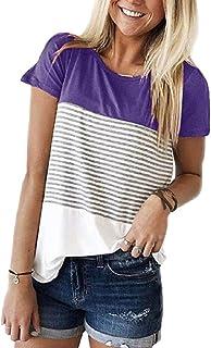 Tuopuda T-Shirt Donna Striscia Tee Camicetta Donna Casual Maglietta Manica Maniche Corta Top Girocollo Splicing Camicia Es...