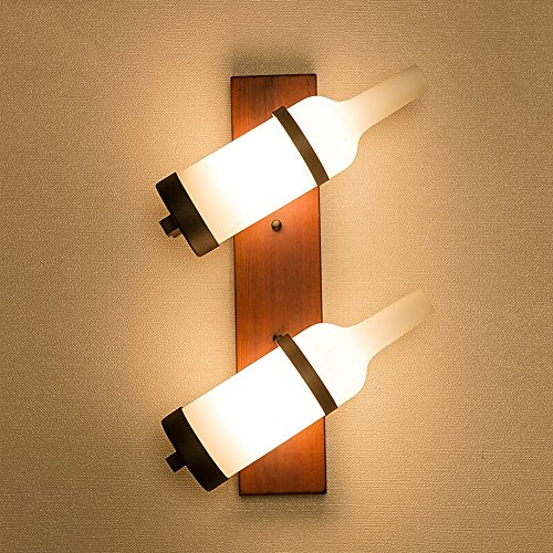 Vintage En Bois Massif Appliques Murales, Mode Antique LED Fer Verre Suspension Lampe Murale Postmoderne Bar Salon Table à Manger Étude Applique Murale (Design : B-2heads)