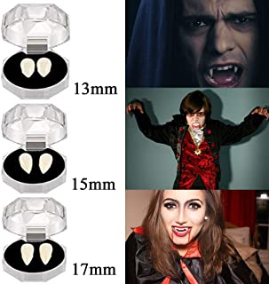 MAITING 3 Pairs Vampire Teeth Fangs Halloween Party Cosplay Props Horror False Teeth Props Party Favors Cosplay Accessories (13,15,17mm)