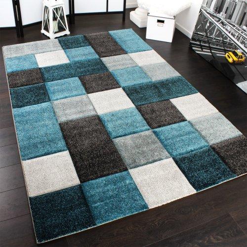 Paco Home Designer Teppich Modern Handgearbeiteter Konturenschnitt Kariert Türkis Grau, Grösse:80x150 cm