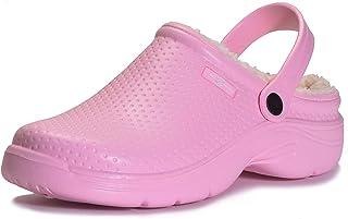 Zapatillas de Estar en casa Hombre Zuecos Mujer Invierno Zapatos de jardín Impermeable Pantuflas Forro Pelusa Caliente Zap...