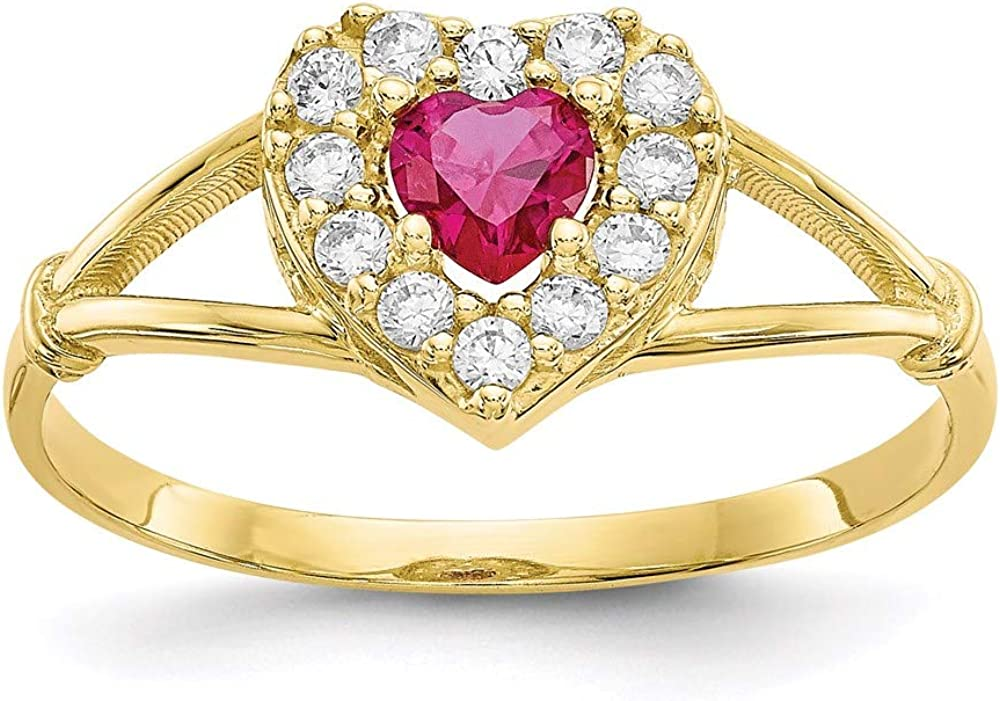 10k Yellow Gold Special sale item Red White Cubic Band Heart Size Zirconia Ring Regular discount Cz