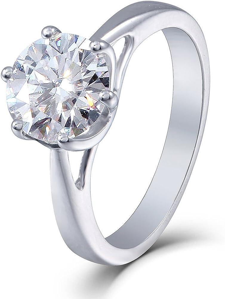 DovEggs 10K White Gold 1.0 Carat G-H-I Color 2.8MM Width Moissanite Simulated Diamond Engagement Ring for Women