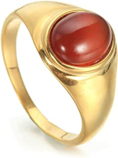 Aooaz Stainless Steel Ring for Men Polished Gold Ring with Oval Stone Retro Rings for Men Size 7-12