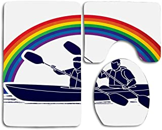RiuianaBVCc Silhouettes on Canoe with Paddles and Rainbow in The Background Outdoor Activites Skidproof Toilet Seat Cover Bath Mat Lid Cover 3 Piece Non Slip Bath Rug Mats Sets