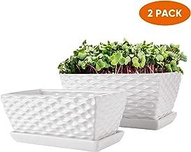 Rectangular Modern Flower Pots,White Ceramic Succulent Planter Pot with Drinage,Garden Pots with Hole,Planter Box with Saucer 2 Set