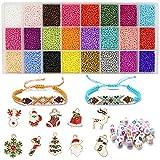 200 Perline Colorate Con Lettere 'A-Z',12200pcs Set Di Ornamenti Natalizi Di Perline Di Riso Da 2 mm, Arte e Artigianato Con Rotoli Di Cordoncino Elastico