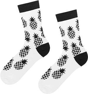 Calcetines para mujer, 4 patrones en blanco y negro, divertidos diseños para mujer, ideal como regalo