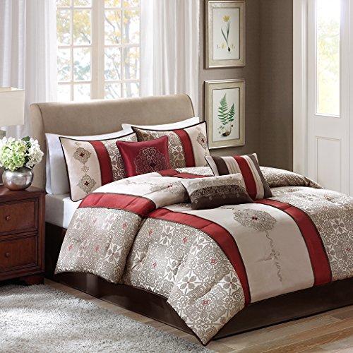 Madison Park Donovan King Size Bed Comforter Set Bed In A Bag - Taupe, Burgundy , Jacquard Pattern – 7 Pieces Bedding Sets – Ultra Soft Microfiber...