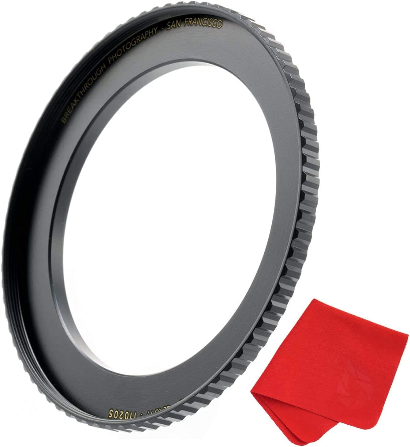 Breakthrough Photography 55mm to 67mm Step-Up Lens Adapter Ring for Filters Made of CNC Machined Brass with Matte Black Electroplated Finish