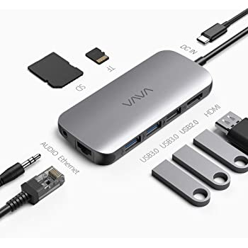 Hub USB C VAVA Adattatore USB C 9 in1 per MacBook Pro/Air con USB-C 4K HDMI 3.5mm Audio1Gbps Ethernet RJ45 USB 3.0 Lettore di Schede SD/TF,Power Delivery da 100W per iPad Pro/Dispositivi Type C