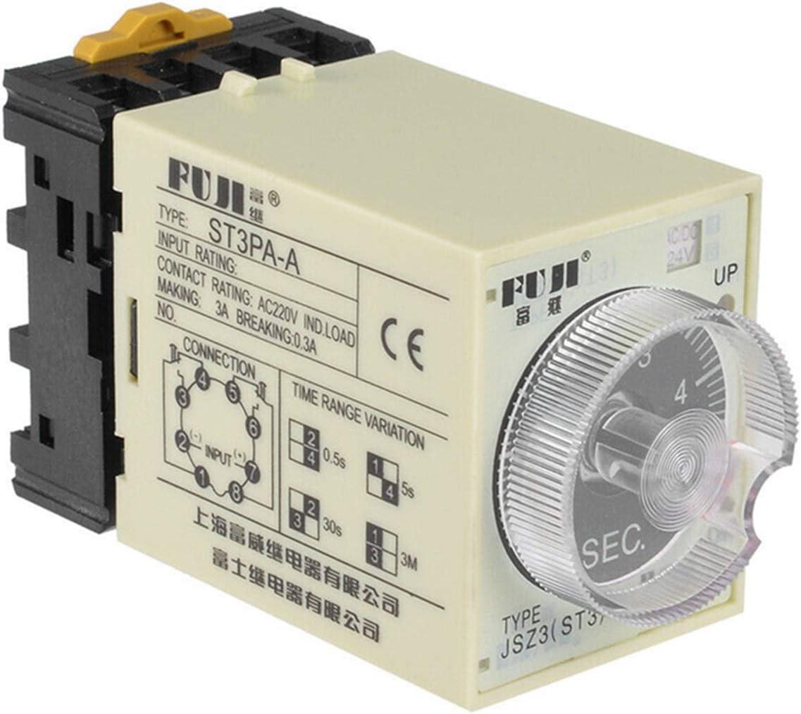 JSJJAES Relé ST3PA Serie Time Relay/Timer ST3P A-A/B/C/D/E/F/G (AC 220V 110V DC 24V 12V Alternativa) Encendido Tiempo Retardo con zócalo de Base (Size : Other Specifications)