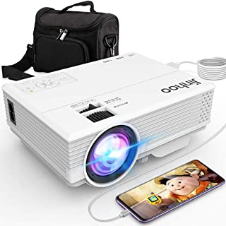 Jinhoo Latest Technology to Phone Projector, Mini Video Projector with 4500 LUX, Synchronize Smartphone Screen, 1080P Supported, Compatible with TV Stick, HDMI, USB, VGA, AV [with Projector Case]