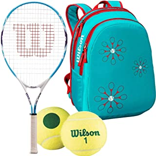 Wilson Serena Williams Junior Pre-Strung Tennis Racquet with Starter Tennis Balls and a Girl's Tennis Bag (Perfect for Kids Ages 3-10)