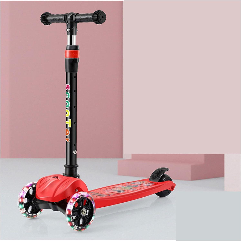 El scooter para niños de tres ruedas es adecuado para niños y niñas de 2 a 10 años. Tiene 3 ruedas amortiguadoras y cuatro manillares ajustables en altura, y la capacidad máxima de carga es de 50