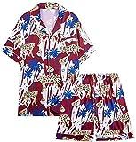 SCRT Pajama Sets Pijamas Set de Manga Corta Pantalones Cortos botón de Solapa de los Hombres Impreso Raso Homewear Transpirable Soft Comfort y Cerca (Color : Multi-Colored, Size : XX-Large)