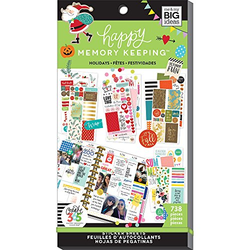 me & my BIG ideas Sticker Value Pack for Big Planner - The Happy Planner Scrapbooking Supplies - Holidays Theme - Multi-Color - Great for Projects, Scrapbooks & Albums - 30 Sheets, 738 Stickers Total