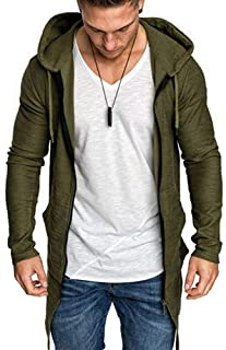 Nobrand Men's Long Cardigan Sweater Jacket Hooded Zipper Slim Open Front Long Section Pocket Men's Sweater Jacket