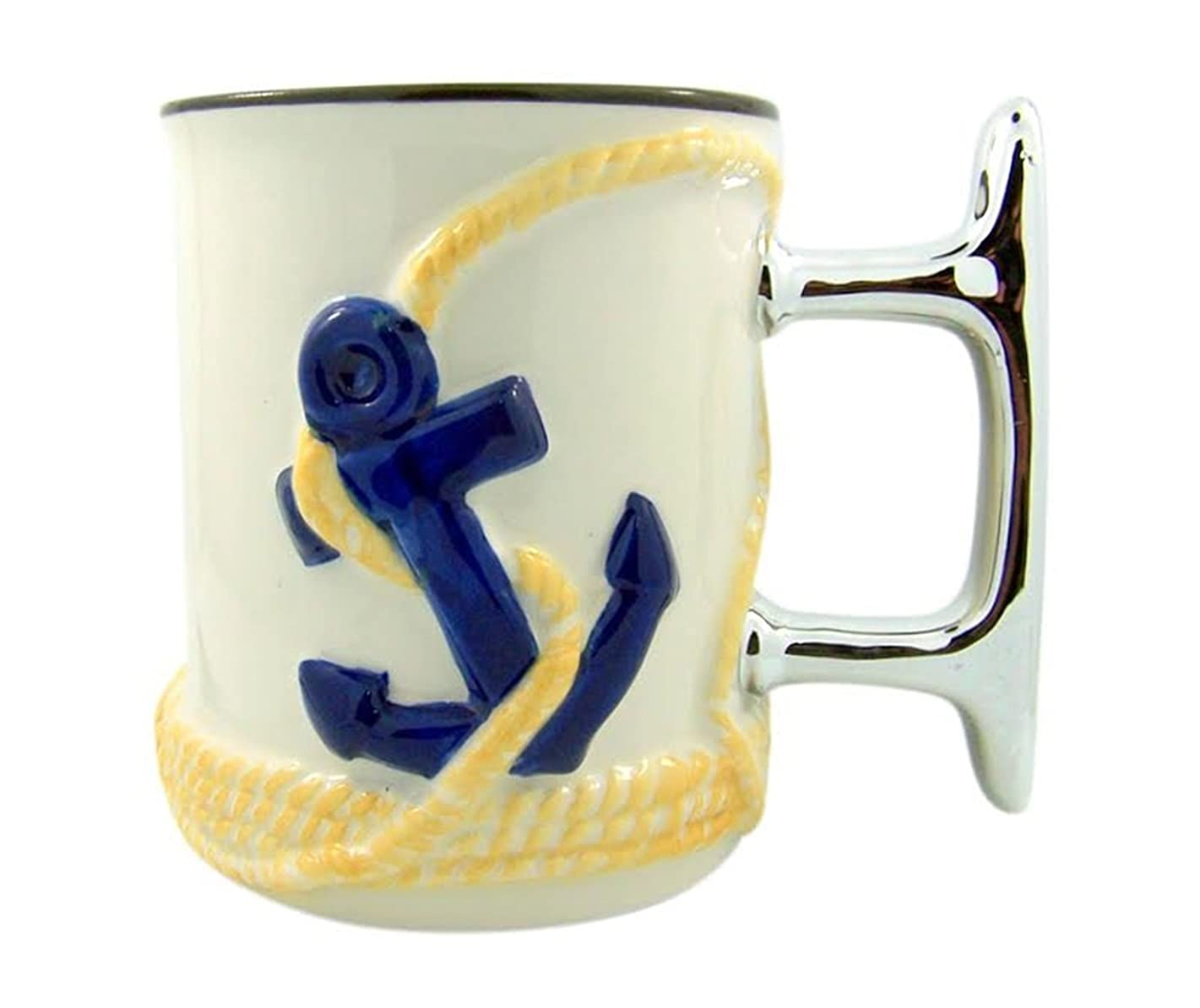 Beach Ship Cleat and Anchor Sculpted Handle Ceramic Coffee Mug, 16 oz