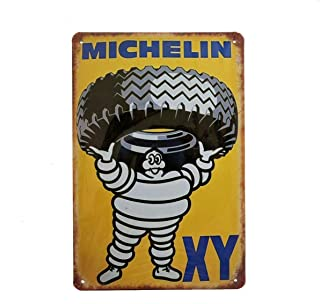 Fersha Michelin Tyres Retro Vintage Tin Sign, Wall Metal Posters for Home Garage Man Cave Gas Station, 8x12 Inch/20x30cm