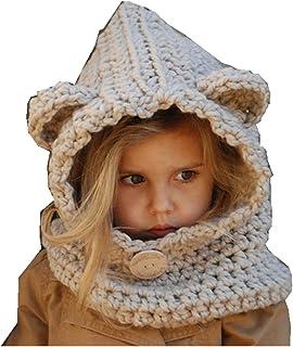 193612aecf857 Freessom Bonnet Echarpe Cape Hiver Cagoule Ours Unisexe Bebe Enfant Garcon  Fille Mignon Kawaii Chaud Tricote