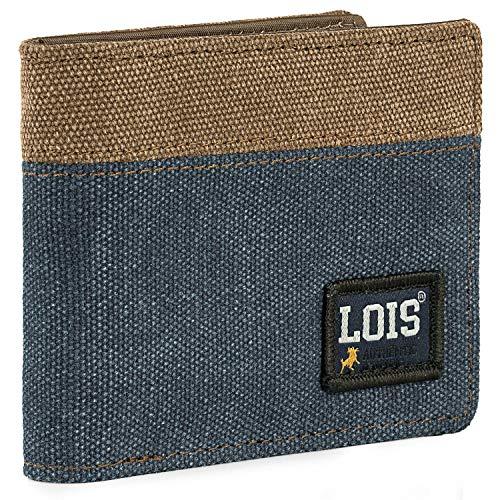 Lois -  Cartera de Hombre Juvenil de Lona con Monedero,  Tarjetero y Billetera. Compartimentos Traslúcidos para Documentación. Protección RFID. 203711,  Color Azul