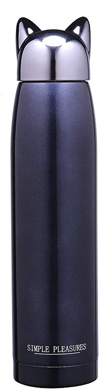 11 OZ Water Bottle Cat Cap Stainless Steel Silicone Sleeve BPA Free By Simple Pleasures Dark Blue