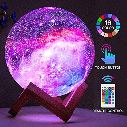 Moon Lamp Kids Night Light Galaxy Lamp 5.9 inch 16 Colors LED 3D Star Moon Light with Wood Stand, Remote & Touch Control USB Rechargeable Gift for Baby Girls Boys Birthday (15CM)