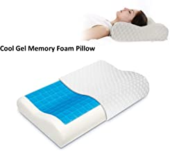 Gluckluz Memory Foam Pillow Cervical Contour Bed Pillowcase Cool Gel Neck Orthopedic Pillow with Removable Washable Cover for Therapy (White)