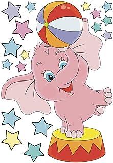 CLISPEED 1PC Cartoon Elephant Star Sticker Children Bedroom Wall Sticker PVC Graffiti Animal Stickers Lovely Wall Decals S...