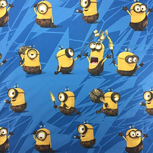 Blauer Stoff mit Cromini Minions Aufdruck, 100prozent Baumwolle, feines Gewebe, für Gardinen / Betten, 142cm breit, Meterware, lizenziert von Universal Studios