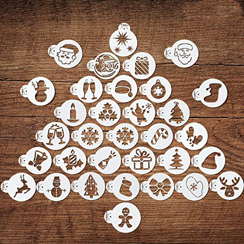 32 Pieces Christmas Cookie Stencils Fondant Cupcake Stencil Molds Embossing Cookie Cutter Templates for Christmas Holiday Crafts Decor Supplies, 32 Styles