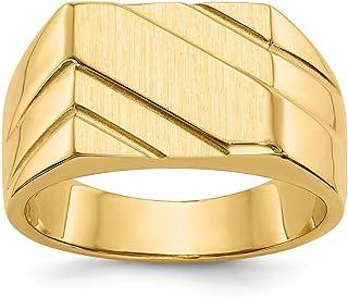 80d9ce67117ce0 Anello con sigillo da uomo in oro giallo 14K lucido, misura 10