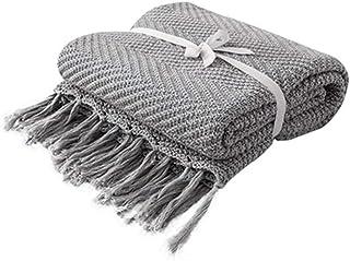 [QIFENGDIANZI]毛布 もうふ 掛け毛布 編み物 綿 北欧風 ふわふわ 軽量 軽い 夏用 エアコン お昼寝 冬暖かい 洗濯可 静電防止 車用 旅用 抗菌・防臭・防ダニ プレゼント 男女兼用 グレー 130X170cm