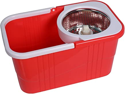 KEVAY S316 Plastic 360° Spin Mop with Easy Wheels Bucket for magic cleaning mops with 2 refills (Red)