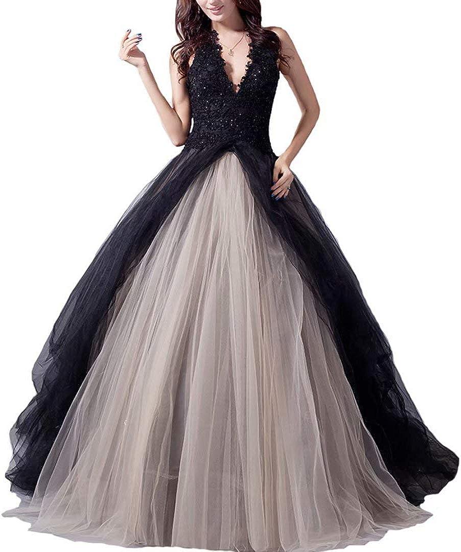 Fair Lady Gothic Black Ball Gown Wedding Dress Halter Beaded Appliques Long Evening Prom Dress 2020