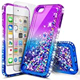 iPod Touch 7 Case, iPod Touch 5/6 Case with Premium HD Screen Protector for Girls, NageBee Glitter Sparkle Liquid Floating Durable Clear Cute Case for iPod Touch 7th/6th/5th Generation -Purple/Blue