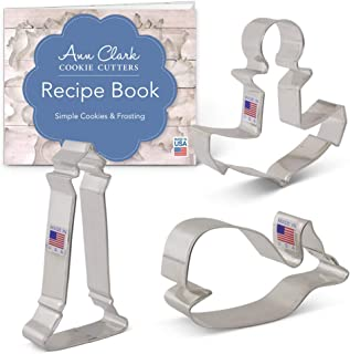 Ann Clark Cookie Cutters 3-Piece Nautical Cookie Cutter Set with Recipe Booklet, Cute Whale, Anchor and Lighthouse