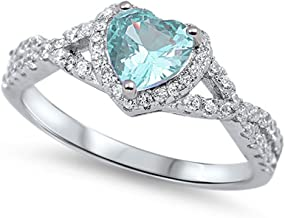 Oxford Diamond Co Sterling Silver Heart Halo Simulated Gemstone Promise Ring Available