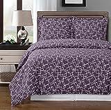 Royal Hotel Purple and White Eva 3-Piece Full/Queen Duvet Cover Set, 100% Cotton 300 TC