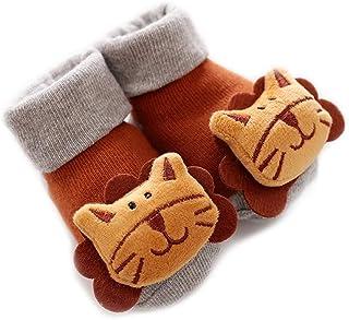 ZEFAN, Calcetines antideslizantes para bebé, calcetines de algodón, cálidos, antideslizantes, para bebés, niñas y niños