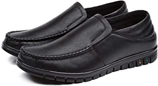 CHENDX Shoes Driving Loafer for Men Business Shoes Genuine Leather Low Top Casual Lightweight Stitching Lustrous Surface Round Toe (Slip on & Lace up Option) (Color : Black-Slip on, Size : 41 EU)
