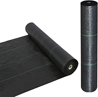 Goasis Lawn Weed Barrier Control Fabric Ground Cover Membrane Garden Landscape Driveway Weed Block Nonwoven Heavy Duty 125gsm Black (5FT x 250FT)