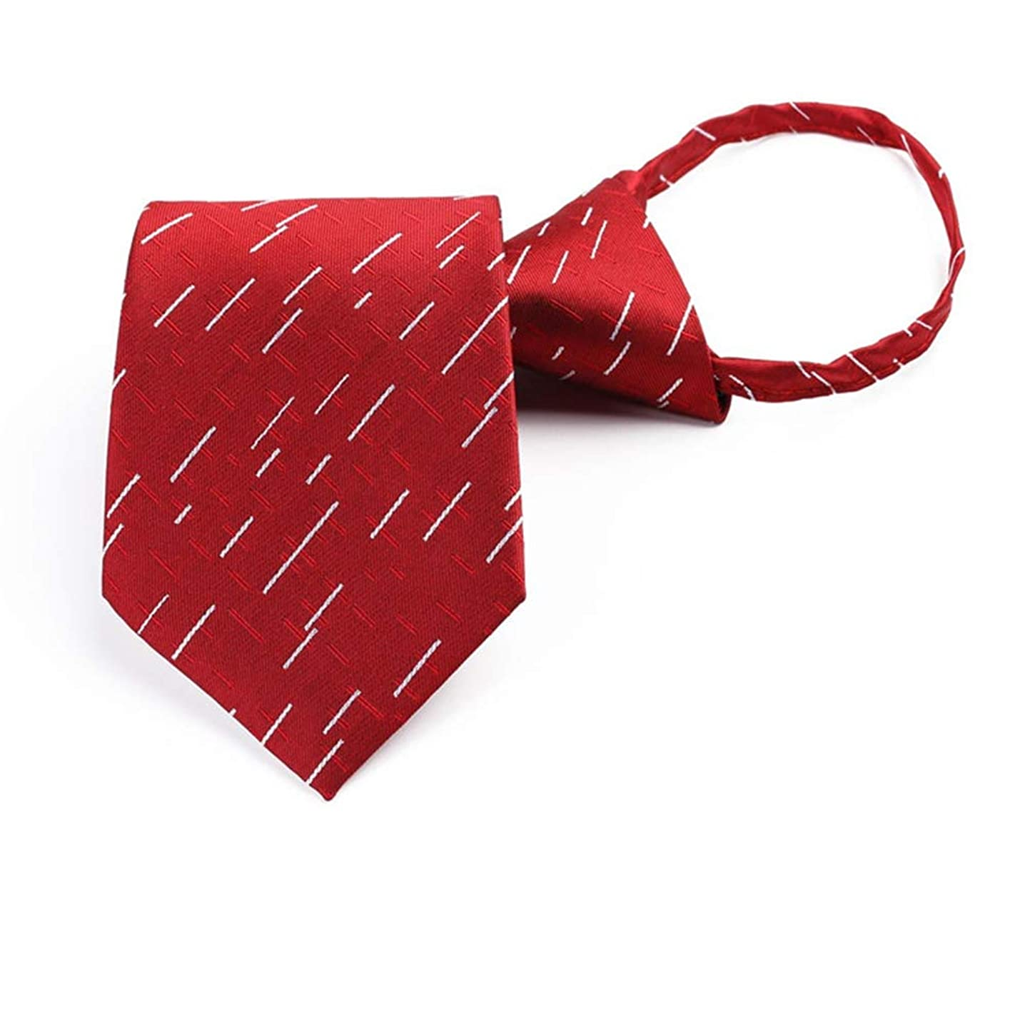 8cm Necktie For Men Zipper Narrow Lazy Easy To Pull Rope Striped Dots tie