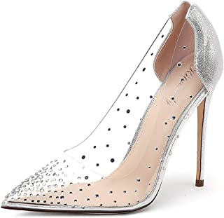 Kitulandy Women's Pumps Clear Stiletto Pointed Toe Transparent High Heels Shoes Silver
