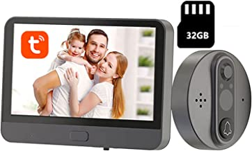 Tuya WiFi Video Deurbel, 4.3 Inch Monitor Video Deurtelefoon Intercom, Nachtzicht Beveiligingscamera, APP Unlock,Set + 32g...
