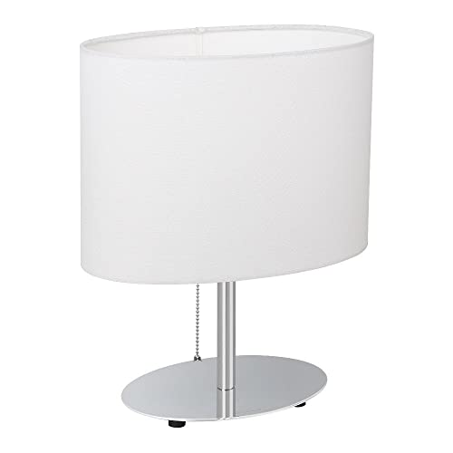 abd9f478b26 HAITRAL Bedside Table Lamp - Minimalist Desk Lamp with Metal Base Fabric Shade  Oval Simple Night