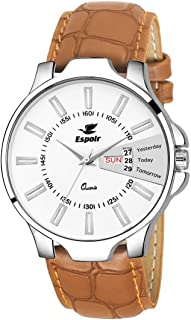 Espoir Analogue Leather Strap Day and Date Men's Boy's Watch - ES2348