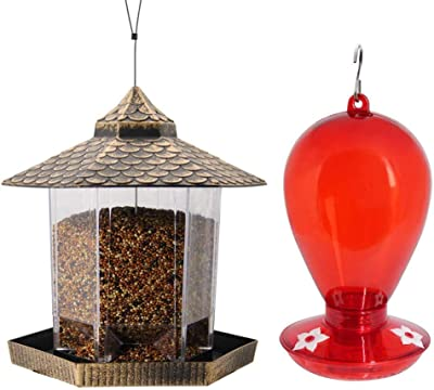 Twinkle Star Wild Bird Feeder Hanging for Garden Yard Outside Decoration | 35 Ounce Red Hummingbird Feeder with 3 Feeding Ports